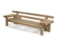 Garden bench / contemporary / teak / with backrest - NAR 265 by Louis Benech - Royal Botania