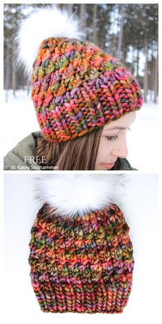 Free Chunky Knitting Patterns, Chunky Hat Pattern, Beanie Pattern Free, All Free Knitting, Baby Hat Knitting Pattern, Easy Knit Hat, How To Knit A Hat, Knitted Headband, Knitted Hats