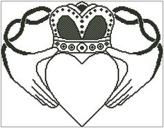 Claddagh is an outline chart measuring 180 stitches wide by 140 stitches high and has been designed for your to use whatever colours you like when Pearler Beads, Claddagh, Cross Stitch Charts, Outline, Celtic, Colours, Stitches, Irish, Accessories