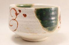 Photo3: Mino yaki ware Japanese tea bowl Shino Oribe nagashi chawan Matcha Green Tea