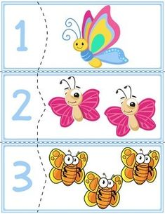 Teach counting skills with butterflies! Great for teaching counting skills and number recognition for numbers . Toddler Learning Activities, Montessori Activities, Preschool Worksheets, Kindergarten Activities, Preschool Activities, Kids Learning, Flashcards For Kids, Free Printable Art, Math For Kids