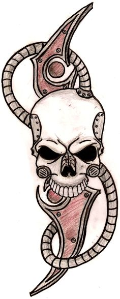 Biomechanical Tribal Skull Tattoo by ~Metacharis on deviantART