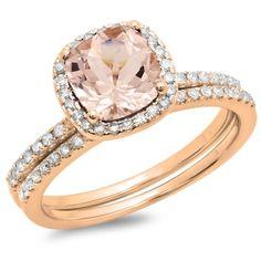 Elora 10k Rose Gold Cushion-cut Morganite and 1 3/4ct TDW Diamond Halo Bridal Ring Set (H-I, I1-I2)
