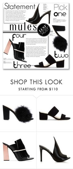 """""""Statement Mules"""" by mandiek-2 ❤ liked on Polyvore featuring Vince Camuto, Proenza Schouler, Kendall + Kylie, mules, pickone and mule"""
