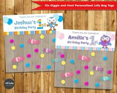 10x GIGGLE AND HOOT PARTY PERSONALISED LOLLY LOOT FAVOUR BAG TOPPERS TAGS #PersonalisedItems…