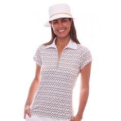 Birdee Sport of Australia Women's Sail Away Capsleeve Golf Polo- Taupe  #birdeesport #golfpolos #shortsleevegolfpolos #patterns #ladiesgolfapparel #ladiesgolfshirts #golftops #shortsleevepolos