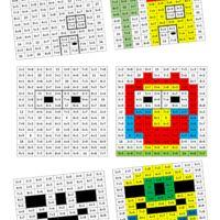 Quelques coloriages (avec les corrections) sous forme de pix'Art pour s'entrainer à calculer de petites sommes tout en s'amusant. « pixart des additions CP.pdf »