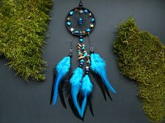 Blue black dreamcatcher cars rear view mirror by DeiDreamCatchers