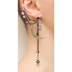 Silver Purple Lilac Night Ear Cuff with Fairy Amethyst Stars and... ❤ liked on Polyvore featuring jewelry, earrings, ear cuff, star stud earrings, fake earrings, purple stud earrings and amethyst stud earrings