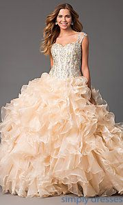 Buy Floor Length Ball Gown with Ruffled Skirt  at SimplyDresses