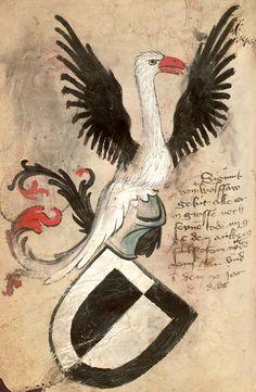 """""""Sigmund von Wolfsau (Austria)"""", stork crest (f°45v). -- «Münchner Handschrift» [one of the three armorials of the Bruderschaft St. Christoph auf dem Arlberg] Botenbuch der Bruderschaft, St. Christoph auf dem Arlberg. Hausritterorden vom Hl. Georg e. V. [Bayrisches Hauptstaatsarchiv, Geheimes Hausarchiv, Bände 3]. -- Coats of arms of donators and members of the abbey of St. Christoph auf dem Arlberg in Tirol. -- Presentation at: https://www.bruderschaft-st-christoph.org/wappenbuecher.html"""