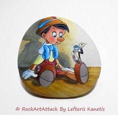 Hand Painted Stone With Pinocchio Disney Character ! Original Painted Stones, Acrilic Paintings, Handmade, Rock Art, Miniature Painting.