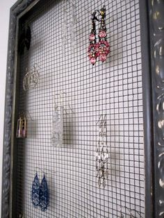 Jewelry holder made out of picture frame and mesh wire---totally making this