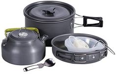 REDCAMP 12/13/23 PCS Camping Cookware Mess Kit with Kettle, Aluminum Lightweight Folding Camping Pots and Pans Set for 1/2/3/4 Person