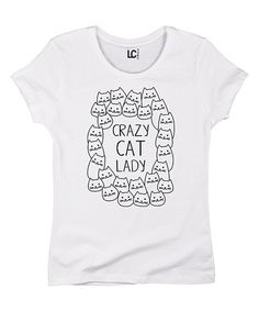 White 'Crazy Cat Lady' Wreath Tee by Cotton Jungle #zulily