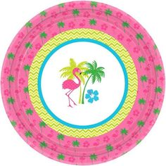 """Brighten any table setting and set the stage for a great summer party or luau with our Flamingo fun paper tableware! Coordinating """"Flamingo Fun"""" dinner sized paper plates are perfectly sized for light meals or appetizers and make clean up a snap. Each package includes 8 dinner size paper plates with each measuring 10.5in round."""