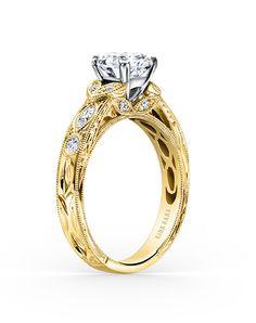 Kirk Kara Unique Round Cut Engagement Ring