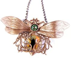 Steampunk Necklace Eye Bee lieve In You Large Bee by DesignsBloom, $46.50