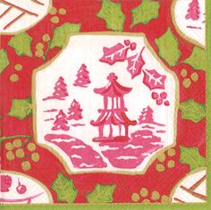 Caspari Christmas China sian Pagoda Theme Printed 3-Ply Paper Cocktail Beverage Napkins Wholesale 13470C
