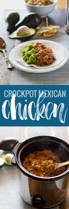 A 5-ingredient crockpot recipe for Mexican-style chicken and pinto beans. Perfect for easy burritos, tacos, and enchiladas. 185 calories per serving.