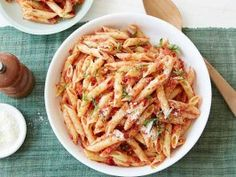 Penne with Sun-dried Tomato Pesto : Recipes : Cooking Channel Blend sweet, salty sun-dried tomatoes with basil, garlic and oil to form the sauce — a lighter cheese- and nut-free pesto sauce — for this simple pasta. Top with grated Parmesan to your liking.