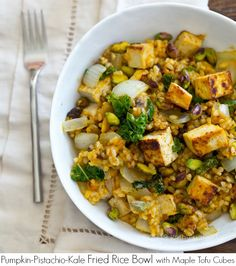 Pumpkin-Pistachio Kale Fried Rice Bowl with Maple Tofu Cubes - full fall flavor in every forkful.