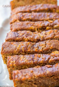 Carrot Apple Bread  by averiecooks: Carrot cake with apples added and baked as a bread so it's healthier! Super moist, packed with flavor, fast and easy. #Bread #Apple #Carrot #Lighter