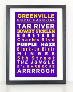 Greenville NC Subway Poster  Home of the ECU by ColiseumGraphics, $15.00
