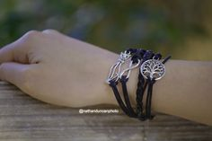 Tree of Life Kitty Cat Infinity Sign Black Leather Bracelet By The Iced Sugar Cookie- fashion jewelry. Photo by @Nathanduncanphoto