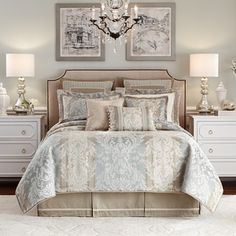Shop for Croscill Nathaniel Jacquard Woven Damask Seafoam Cal-King Size Comforter Set (As Is Item). Get in rewards with Club O! Damask Bedding, Blue Bedding, Luxury Bedding, Croscill Bedding, King Size Comforter Sets, King Size Comforters, Bedroom Colors, Bedroom Decor, Bedroom Ideas