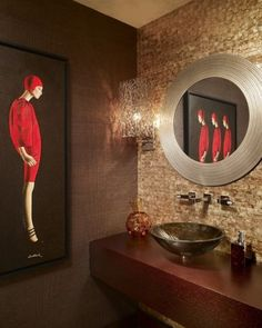 """There Is No """"Right Or Wrong"""" Place In Your Home For Art..This Is A Prime Example In A Contemporary Powder Room by Arnold Schulman Design Group"""
