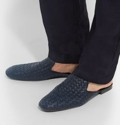 <a href='http://www.mrporter.com/mens/Designers/Bottega_Veneta'>Bottega Veneta</a>'s slippers are the latest take on the house's signature 'Fiandra' loafers – the backless shape parallels the easy-to-style feel of its predecessor but with added panache and nonchalance. Expertly crafted using the unmistakable intrecciato weave, this pair is made from supple midnight-blue leather that's lightly buffed to reveal a lighte...