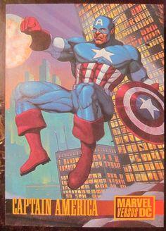 Capt. America Card: Marvel Capt. America card non sport trading card promo.  Batman vs Captain America  1995 Skybox Marvel vs DC....