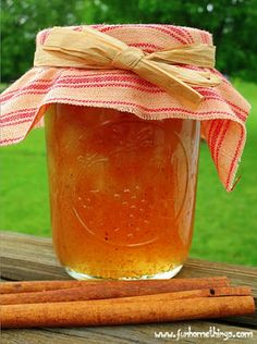 """Spiced Pear Jam is a special treat I make just for my grandmothers for Mother's Day. Both of them love homemade jam and this is one of their favorites. My husband calls it """"Christmas Ja… Canning Tips, Home Canning, Canning Recipes, Pear Recipes, Jelly Recipes, Salsa, Christmas Jam, Pear Jam, Canned Food Storage"""