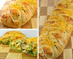 Broccolli Cheddar Chicken Cresent Bread: Ingredients: - 2 tubes of crescent roll dough -2 cups chicken chunks, cooked -2 cups cheddar cheese -2 cups broccoli, frozen, steamed and chopped -½ cup light mayonnaise -1 egg yolk -fresh rosemary