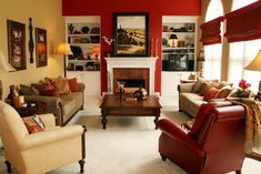 light yellow walls beige couch | Chic living room with a red wall again, beige sofa and a beige chair ...