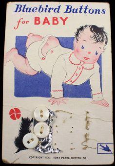 ButtonArtMuseum.com -  a Rare 1936 Antique Pearl MOP Shell Buttons Original Baby Graphic Store Card