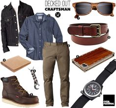 Decked Out Craftsman is part of Mens fashion casual To him, working with your hands doesn& mean not looking good He might have to jump between projects and client meetings at a moment& notice, so - Casual Outfits, Men Casual, Fashion Outfits, Simple Outfits, Fashion Styles, Sharp Dressed Man, Well Dressed, Gentleman Style, Shorts