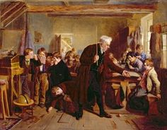 """The Village School"", 1857. William Henry Knight  (1823 – 1863), English painter. #globe"