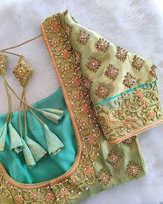 Bridal Blouse Designs, Blouse Neck Designs, Jewelry Sets, Gold Jewelry, Blouse Desings, Zardosi Work, Saree Tassels, Maggam Work Designs, Hand Work Blouse Design