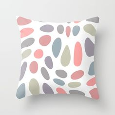 Colorful pastel pebbles Throw Pillow by ARTbyJWPFrom Society6 #pillow #throwpillow #cushion #homedecor #colors #minimal --- Throw Pillow made from 100% spun polyester poplin fabric, a stylish statement that will liven up any room. Individually cut and sewn by hand, each pillow features a double-sided print and is finished with a concealed zipper for ease of care.  Sold with or without faux down pillow insert.