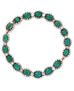 An antique cabochon emerald and diamond necklace, circa 1790.