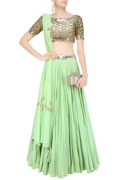 Green sequins and mirror work blouse and lehenga skirt set available only at Pernia's Pop Up Shop.