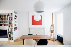 Love this simple and bright art piece above fireplace Elizabeth Roberts in Brooklyn | Remodelista