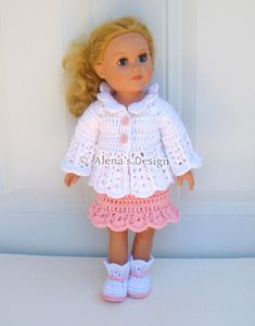 Crochet Pattern 3 PC Set for 18 in Doll - Crochet Patterns Pink and White Jacket, Skirt and Boots for American Girl 18 inch Dolls Outfit  AG by AlenasDesign, $6.39 USD