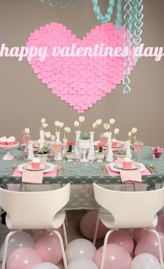 Valentine's Day Table Decor - I love the Moon Cactus in the tea cups.
