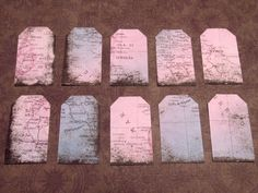 GIFT TAGS  Blue & Pink Map  10pc Hand-Punched by FandominionShop