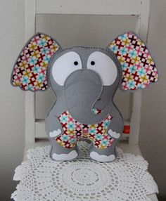 Felt elephant toy/softie grey stuffed plush by Plushka on Etsy
