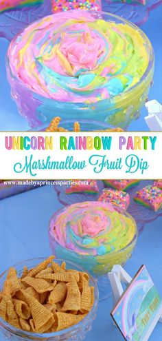You've never had dip like this! My Unicorn Party Rainbow Marshmallow Cream Cheese Fruit Dip Recipe is perfect for your next magical event! Rainbow Unicorn Party, Rainbow Birthday Party, Unicorn Birthday Parties, 5th Birthday, Unicorn Party Decor, Birthday Ideas, Rainbow Parties, Rainbow Snacks, Rainbow Fruit