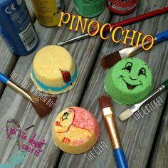 Pinocchio inspired mini bath bomb set jiminy cricket cleo #EpsomSaltFootSoak Epsom Salt Foot Soak, Bath Booms, Youre The Bomb, Mini Bath Bombs, Bath Bomb Sets, Jiminy Cricket, Lime Essential Oil, Bath Fizzies, Feather Painting